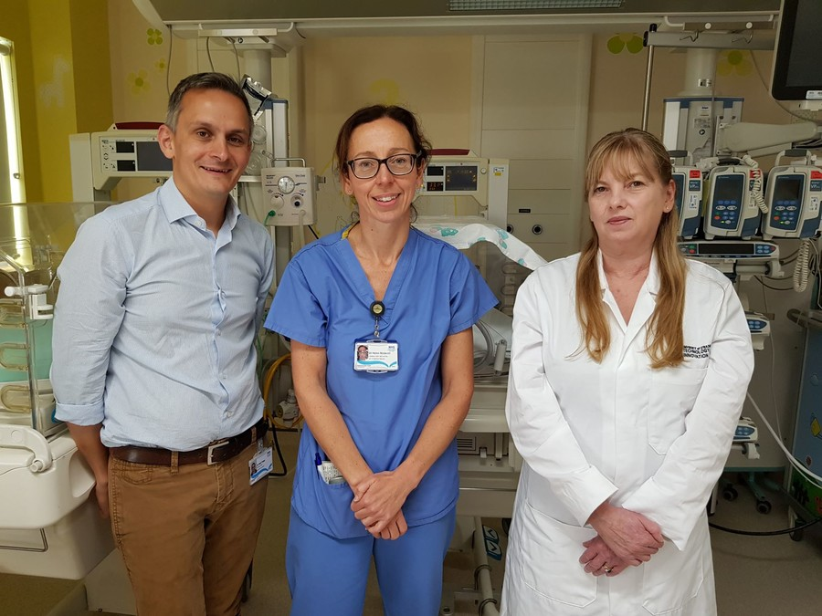 L R Consultant paediatricians Dr Neil Patel Dr Helen McDevitt with Professor Patricia Connolly of Strathclyde